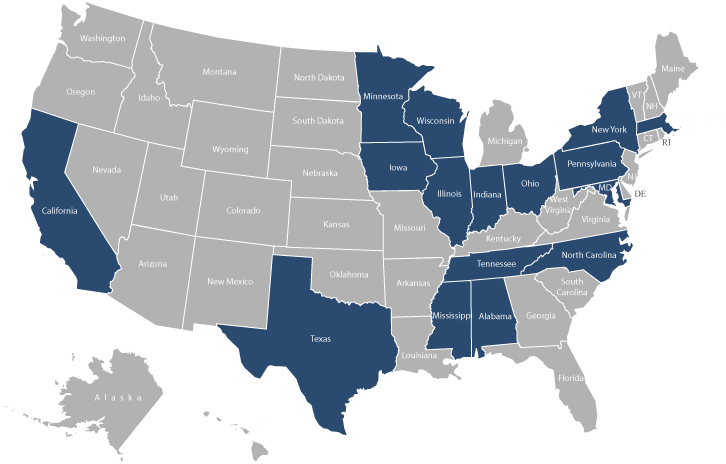 US Map - Partner states highlighted in blue